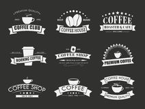 Set of coffee logo with ribbons Stock Image