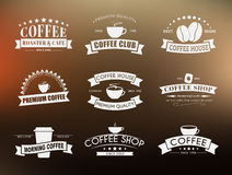 Set of coffee logo with ribbons Royalty Free Stock Image