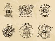 Set of coffee logos. modern vintage elements for the shop menu. Vector illustration. design decoration collection for vector illustration