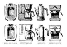 Set of coffee machines Royalty Free Stock Photos