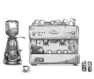 Set coffee making equipment. Coffeemaker and grinder. Vector illustration EPS 10, hand drawn Stock Image
