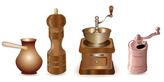 Set of coffee making equipment Stock Image
