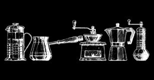 Set coffee making equipment Royalty Free Stock Image