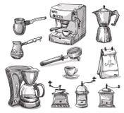 Set coffee making equipment Royalty Free Stock Image