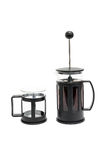 Set of coffee making by french-press method. A black french-press coffee maker and a glass Stock Photography