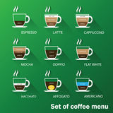 Set of coffee menu Royalty Free Stock Photography