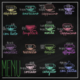 Set of coffee menu vector illustration