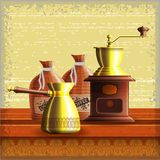 Set of coffee mill, turkish cezve and textile bag Royalty Free Stock Photography