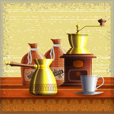 Set of coffee mill, turkish cezve, textile bags and small white cup. Standing on the wooden table over grunge retro frame background. Eps10 Royalty Free Stock Photo