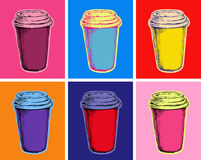 Set Coffee Mug Vector Illustration Pop Art Style Royalty Free Stock Image