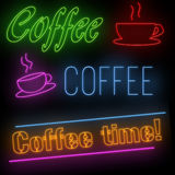 Set of coffee neon signs Royalty Free Stock Photos