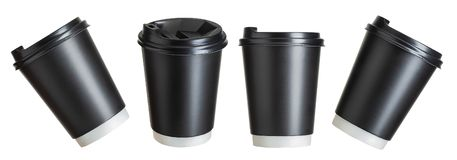 Set of coffee paper drinking cups on white background. Isolated with clipping path stock image