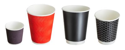 Set of coffee paper drinking cups on white background. Isolated with clipping path stock photography