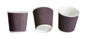 Set of coffee paper drinking cups on white background. Isolated with clipping path royalty free stock image