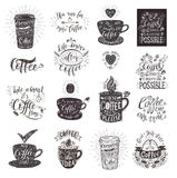 Set of Coffee quotes with a cup. Vector hand-drawn lettering. Banner for restaurant and bar Royalty Free Stock Photos