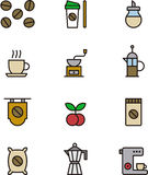 Set of coffee related icons Stock Photos