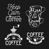 Set of coffee related typography. Quotes about coffee. Vintage vector illustrations. Stock Photos