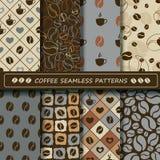 Set of coffee seamless pattern. Stock Photos