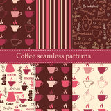 Set of coffee seamless patterns Stock Images