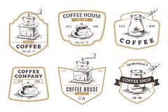 Set of coffee shop emblems, badges and logo isolated on white ba royalty free illustration