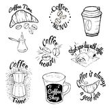 Set of coffee shop logos. Coffee labels with sample text. Mugs, beans and coffee equipment icons for coffeehouse, espresso bar, re Stock Photos