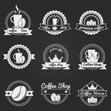 Set of coffee shop logos or vintage vector labels Royalty Free Stock Image