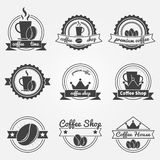 Set of coffee shop logos or vintage vector labels Stock Images