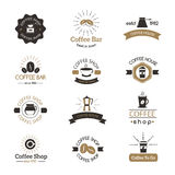 Set of coffee shop sign cafe symbol espresso design morning drink modern badge vector. Stock Images