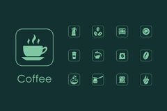 Set of coffee simple icons Stock Image