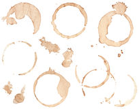 Set of Coffee Stains. Collection of various brown coffee stains isolated on white Stock Photography