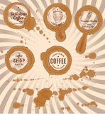 Set of coffee stains with stamps and splashes Royalty Free Stock Images
