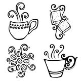 Set of Coffee with Steam Stock Photos