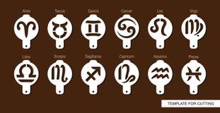 Set of coffee stencils. Aries, Taurus, Leo, Gemini, Virgo, Scorpio, Libra, Aquarius, Sagittarius, Pisces, Capricorn, Cancer. vector illustration