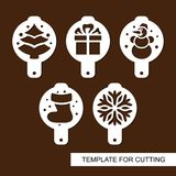 Set of coffee stencils. For drawing picture on cappuccino, macchiato and latte. Christmas theme. royalty free illustration