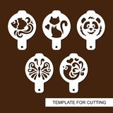 Set of coffee stencils. For drawing picture on cappuccino, macchiato and latte . Silhouettes of fish, cat, panda, butterfly and bird. Template for laser cutting Royalty Free Stock Images