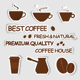 Set of coffee stickers. Design elements for coffee shops and cafes. Set of stickers. Vector illustration Vector Illustration