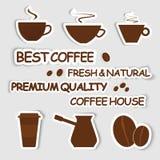 Set of coffee stickers Stock Photos