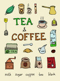 Set of coffee and tea Royalty Free Stock Images