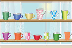 Set of coffee and tea colorful cups. Stock Images