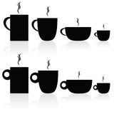 Set of coffee and tea cup black silhouette Royalty Free Stock Image