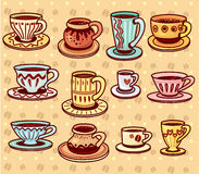 Set of coffee and tea cups Stock Photography
