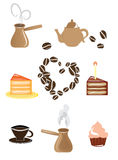 Set of coffee and tea icons. Isolated coffee icons in different colours on white background Royalty Free Stock Image