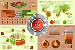 Set of Coffee and Tea Infographic elements with Royalty Free Stock Photography
