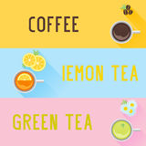 Set of coffee and tea labels. With text in different colors Stock Images