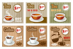 Set of coffee and tea menu card. Royalty Free Stock Photo
