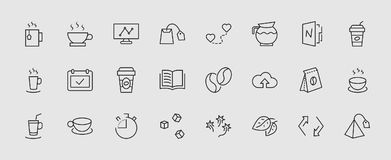 Set of Coffee and Tea Vector Line Icons. Contains such Icons as Cup of Tea, Teabags, Coffee beans and Green Tea Leave royalty free illustration