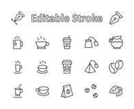 Set of Coffee and Tea Vector Line Icons. Contains such Icons as Cup of Tea, Teabags, Coffee beans and Green Tea Leave stock illustration