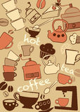 Set coffee and tee,  illustration Stock Photos