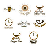 Set of coffee time logo design. Stock Photos