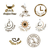 Set of coffee time logo design. Royalty Free Stock Photos